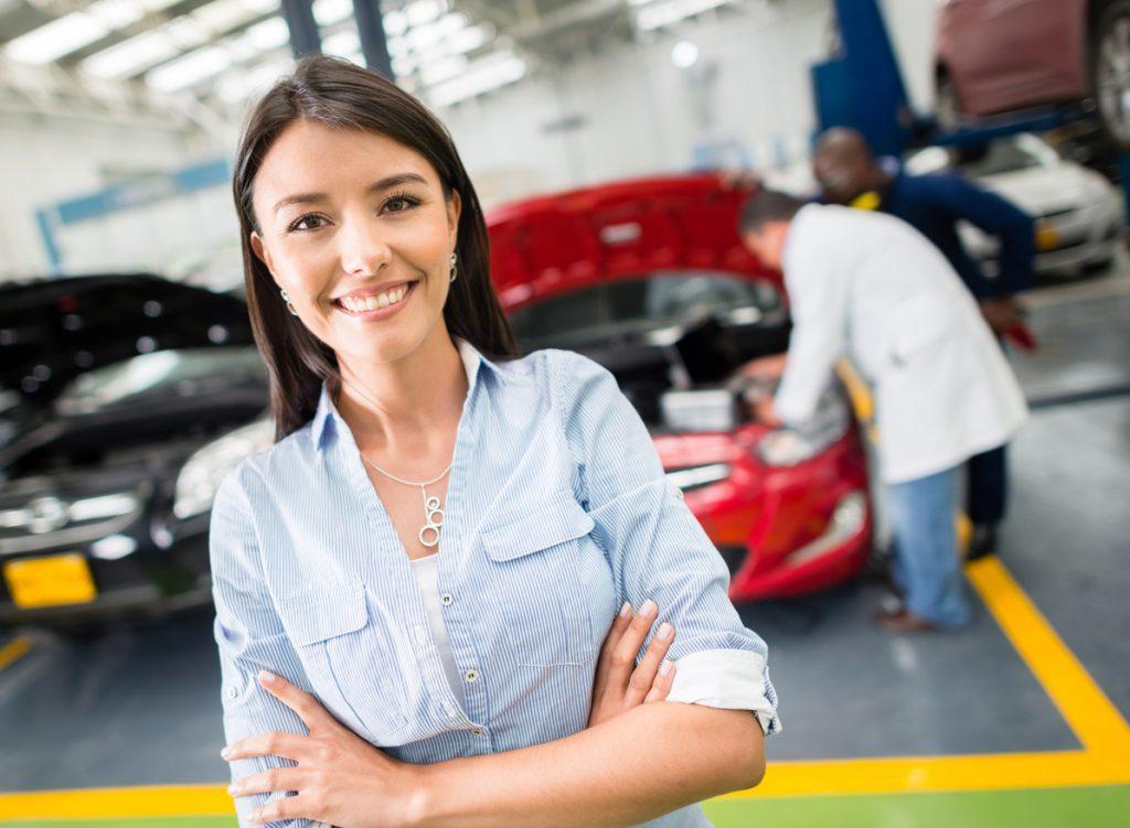 Woman taking car to the mechanic