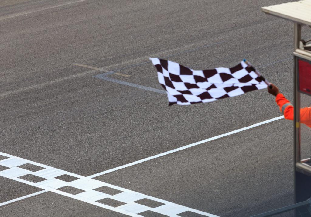 Checkered flag waving